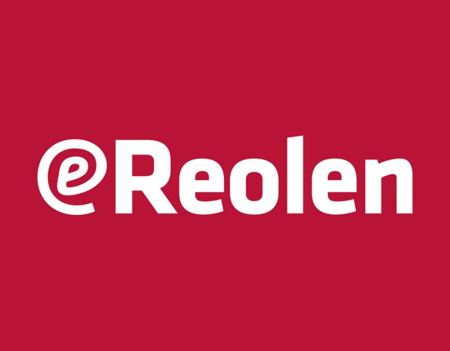 eReolens logo på rød baggrund